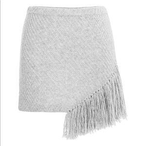 Thakoon Addition Grey Melange Fringe Sweater Skirt